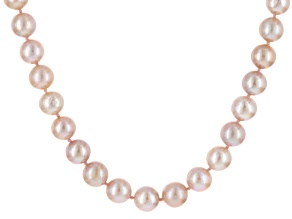 Pink Cultured Freshwater Pearl Rhodium Over Silver Necklace 9-10mm
