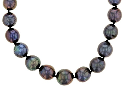 Black Cultured Freshwater Pearl Rhodium Over Silver Necklace 10.5-13.5