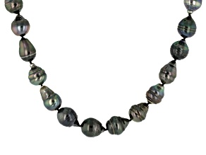 Cultured Tahitian Pearl Rhodium Over Sterling Silver Necklace 8.5-11.5