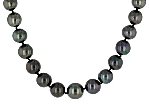 Cultured Tahitian Pearl 14k Yellow Gold Strand Necklace 11-13mm
