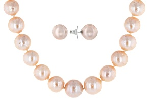 Cultured Freshwater Pearl Rhodium Over Silver Necklace And Earrings Set 11.5-13.5mm