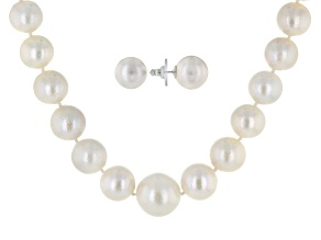 Cultured Freshwater Pearl Rhodium Over Silver Necklace And Earrings Set 11.5-13.5