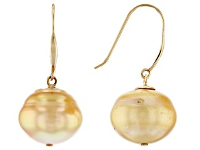 Cultured South Sea Pearl 14k Yellow Gold Earrings 12-13mm