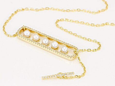 Cultured Freshwater Pearl And Zircon 18k Yellow Gold Over Sterling Silver Adjustable Necklace
