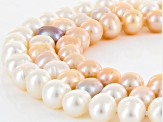 Cultured Freshwater Pearl Rhodium Over Silver Necklace And Earrings Set