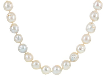 Picture of Cultured Freshwater Pearl Rhodium Over Silver Necklace 12-14mm