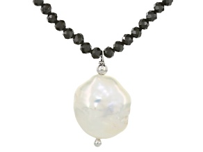 Cultured Freshwater Pearl And Spinel Rhodium Over Silver Necklace 12-15mm