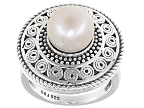 Cultured Freshwater Pearl Rhodium Over Silver Ring 9.5-10mm