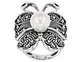 Cultured Freshwater Pearl Rhodium Over Silver Butterfly Ring 9.5-10mm