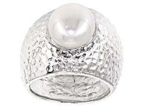 Cultured Freshwater Pearl Rhodium Over Silver Ring 10mm