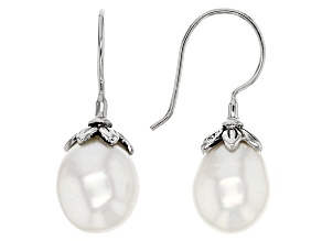 Cultured Freshwater Pearl Rhodium Over Silver Earrings 9.5-11.5mm