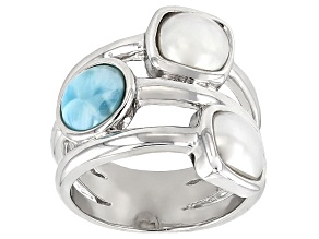 Cultured Freshwater Pearl And Larimar Rhodium Over Silver Ring 7x7mm
