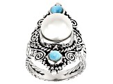 Cultured Freshwater Pearl & Larimar Rhodium Over Silver Ring 10mm