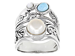 Cultured Freshwater Pearl, Mother Of Pearl And Larimar Rhodium Over Silver Ring 8mm
