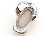 White Mother Of Pearl Rhodium Over Silver Ring 11.5x28mm