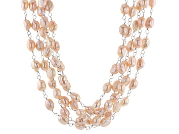 Picture of Cultured Freshwater Pearl Rhodium Over Sterling Silver Multi Strand Necklace 7-9mm