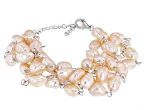 Cultured Freshwater Pearl Rhodium Over Sterling Silver Multi Strand Bracelet 7-9mm