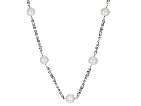 Cultured Freshwater Pearl Rhodium Over Silver Necklace 11-13