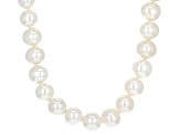 Cultured Freshwater Pearl Rhodium Over Sterling Silver Necklace 9.5-10.5