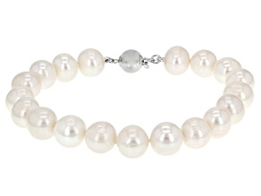 Cultured Freshwater Pearl Rhodium Over Sterling Silver Bracelet 9.5-10.5