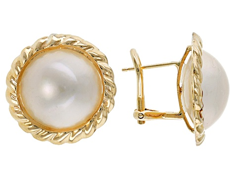 Cultured Mabe Pearl 14k Yellow Gold Omega Back Earrings 13-14mm