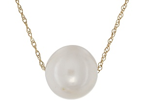 Cultured Freshwater Pearl 14k Yellow Gold Necklace 10-10.5mm