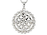 Cultured Freshwater Pearl Rhodium Over Sterling Silver Pendant With Chain 3-4mm