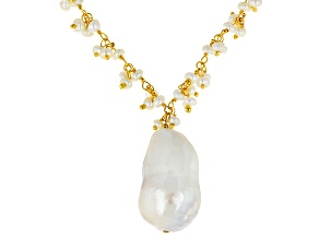 White Cultured Freshwater Pearl 18k Yellow Gold Over Sterling Silver Necklace 3-15mm