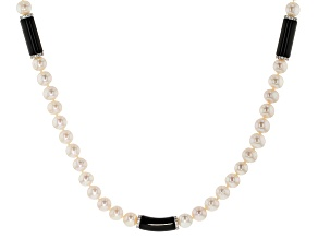 Cultured Freshwater Pearl, Black Onyx And Cubic Zirconia Sterling Silver Necklace