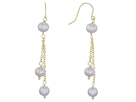 Cultured Freshwater Pearl 10k Yellow Gold Dangle Earrings 5-6mm