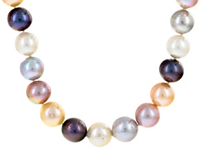 Cultured Freshwater Pearl Rhodium Over Sterling Silver Necklace 11-13mm