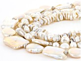 Cultured Freshwater Pearl Rhodium Over Sterling Silver Multi Strand Necklace