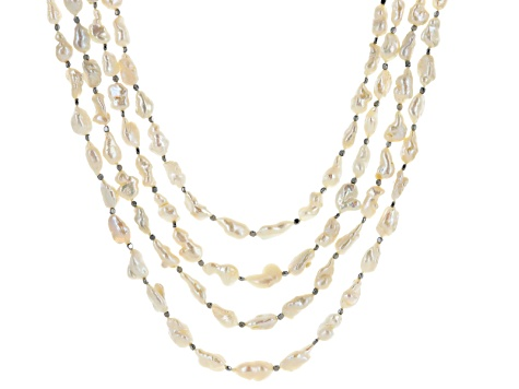 Cultured Freshwater Pearl & Hematine Rhodium Over Sterling Silver Multi Strand Necklace