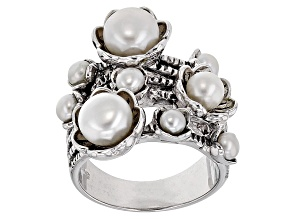 Cultured Freshwater Pearl Rhodium Over Sterling Silver Ring