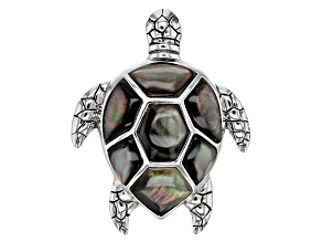 Gray Mother-Of-Pearl Rhodium Over Sterling Silver Turtle Pendant