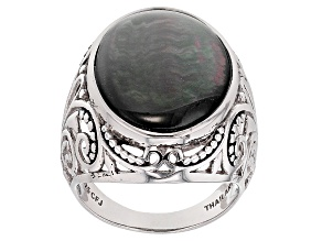 Shell Rhodium Over Rhodium Over Sterling Silver Ring