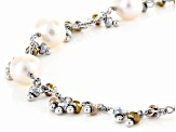 Cultured Freshwater Pearl And Hematine Rhodium Over Sterling Silver Necklace
