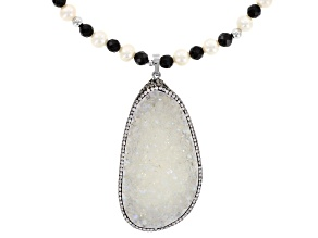 Cultured Freshwater Pearl, Quartz, Onyx And Cubic Zirconia Sterling Silver Necklace With Enhancer