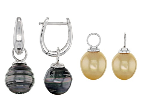 Cultured Tahitian Pearl And Golden South Sea Sterling Silver Earrings Set