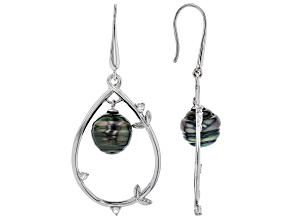 Cultured Tahitian Pearl With Topaz Rhodium Over Sterling Silver Earrings 11mm