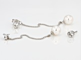 Cultured Japanese Akoya Pearl And White Topaz Sterling Silver Earrings