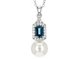 Cultured Freshwater Pearl, Blue Topaz And White Zircon Sterling Silver Pendant With Chain