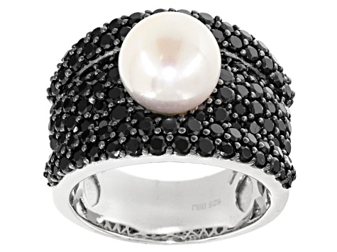 Cultured Freshwater Pearl And Black Spinel Rhodium Over Silver Ring 9.5-10mm