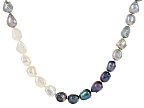 10.5-11.5mm White, Gray & Black Cultured Freshwater Pearl 47 Inch Endless Strand Necklace