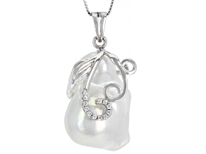 Cultured Freshwater Pearl And Cubic Zirconia  Rhodium Over Sterling Silver Pendant With Chain