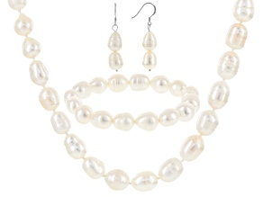 Cultured Freshwater Pearl Rhodium Over Sterling Silver Jewelry Set