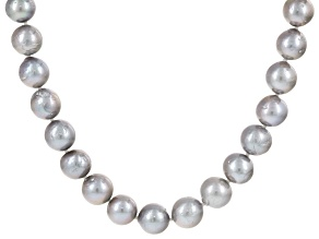 Cultured Freshwater Pearl Rhodium Over Sterling Silver Necklace 9.5-11mm