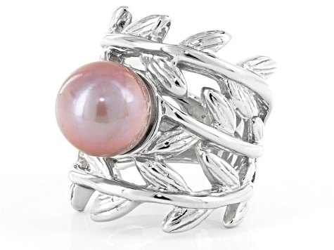 Cultured Freshwater Pearl Rhodium Over Sterling Silver Ring 12mm