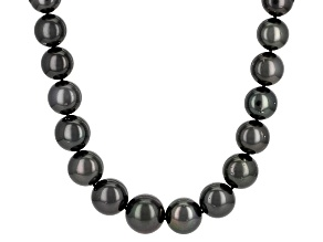 Cultured Tahitian Pearl Rhodium Over Sterling Silver Necklace 11-15mm