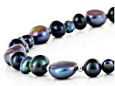 Cultured Freshwater Pearl Rhodium Over Sterling Silver Necklace 6-11mm